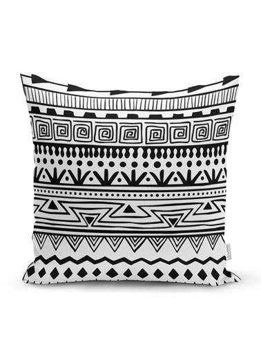 Real Homes Siyah Beyaz Dekoratif African Motifli Modern Yastık Kırlent Kılıfı Renkli
